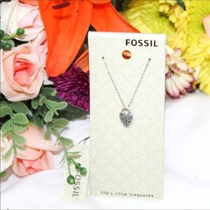 Fossil Dainty Lock Pendant Necklace